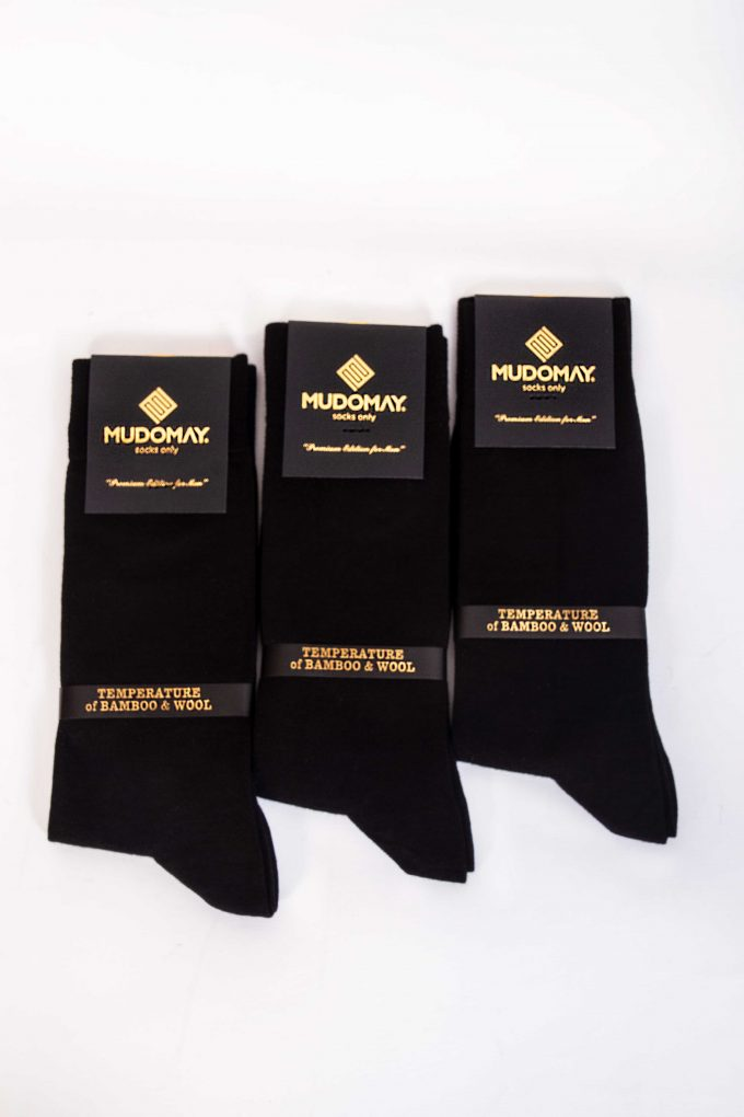 23001-Siyah Mudomay Kışlık Erkek Soket Bambu Yün Çorap