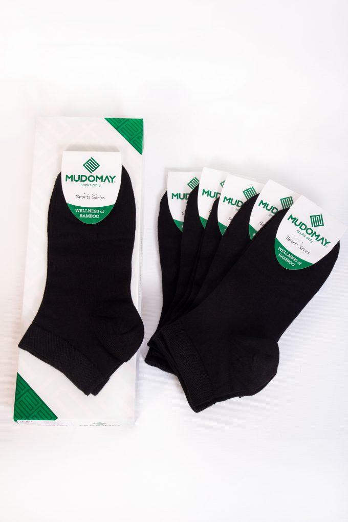 59001-2 Mudomay Yazlık Erkek Patik Bambu Siyah Çorap